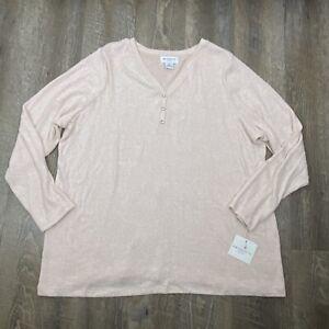 Liz Claiborne Womens Top Long Sleeve Shirt Plus Size 1X Pink V-Neck Buttons NEW