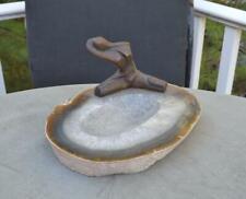 Bronze Nude Woman Sculpture Geode Base Signed Celine Art Deco