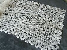 More details for vintage off white cotton tape or string lace large table/bed runner ~ 70