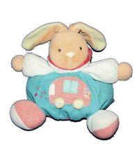 KALOO Doudou lapin boule bleu voiture Grelot 25 cm
