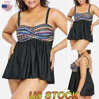 Women Plus Size Tankini Swimwear Swim Dress Push Up Bikini Bathing Suit Swimsuit