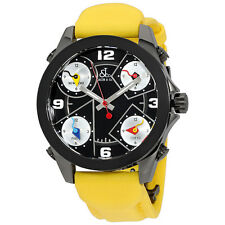Jacob and Co. Five Time Zone Black Dial Yellow Strap Mens Watch JCM-71BC