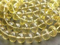 """HAND FACETED LEMON QUARTZ RONDELLES, graduated 8mm - 12mm, 16"""", 53 beads"""