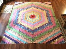 c1940 Around The World QUILT Top Antique Hand Made Stitched 71x87 Old Feed Sack