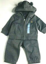 New Baby Gap Sweat Suit 3-6 Months Gray Fleece Lined