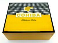 Cohiba Classic Pattern Cedar Wood Lined 50Ct Cigar Humidor Hygrometer Humidifier