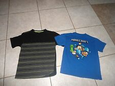 Lot of 2 tops shirts blue black  boys 7 8  minecraft faded glory clothes