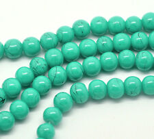 105 pcs. - 8mm Turquoise Black Dots Stains Stripes Glass Drawbench Round Beads