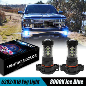 5202 LED Fog Light Bulb for Chevrolet Silverado 1500 2008-2015 8000K Blue HID
