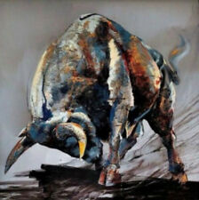 Handcraft animal Oil Painting on Canvas Portrait Wall Art Figure Animal Bull 24
