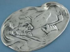 "Sterling Unger Brothers 7 3/4"" Tray ~ Art Nouveau ~ man smoking a pipe ~ no.0395"