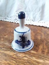 Decorative miniature porcelain delft design Dutch/Holland blue Windmill Bell