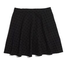 Madewell Womens Velvetdot Black Skirt Size 2 Black Polka Dots A-line Circular F4