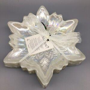 x4 Akcam Iridescent Pearl Snowflake Glass Plate Set Appetizer Dessert Christmas