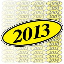 Car Dealer Windshield Oval Model Year Stickers (6 packs) Yellow and Black