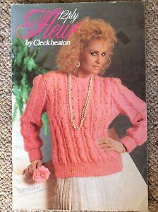 Vintage Cleckheaton Knitting Pattern Book 12 Ply Fleur by Cleckheaton