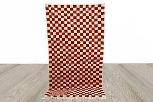 Checkered Red area rug, berber Moroccan checker rug, custom checkerboard rug