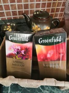 Greenfield Russian Herbal Tea with Raspberry Black Tea with Thyme 2 boxes х 25