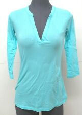 Da-Nang Surplus Women's Blouse Round Neck Sheer Sleeves BLUEB CFG3001 SMALL S