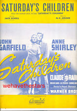 SATURDAY'S CHILDREN Sheet Music John Garfield Claude Rains Anne Shirley