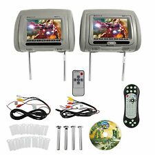 Rockville RDP711-GR Car Headrest Monitors with DVD Player and Games Grey