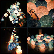 20 COTTON BALL FAIRY LED STRING LIGHTS WEDDING PARTY CHRISTMAS DECOR Blue EP4