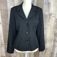 Byer Too Womens Size 11 Blazer Jacket 3-Button Black White Pinstriped Stretch
