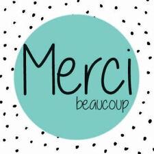 """50 Etiquettes autocollantes stickers """"Merci beaucoup"""" pois noirs cadeaux"""
