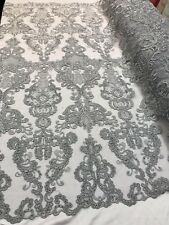 Silver French Corded Design-embroider With Sequins Mesh Lace Fabric By Yard