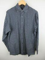 Calvin Klein Mens Shirt Size M 15 1/2 Long Sleeve Button Up Regular Fit Striped