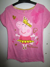 Girls Peppa Pig ballerina tee with bow   Size 6    BNWT