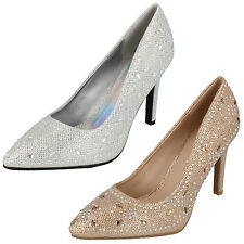 Ladies Anne Michelle Champagne / Silver Bridal / Party Shoes F9947