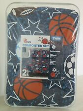 B Kids Sports Basketball Football Baseball Twin Comforter & Sham Set $80 New!