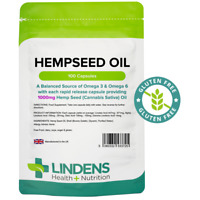 HEMP SEED OIL 1000mg Capsules(100) Rich Source of Omega 3 & 6 (HempSeed) Lindens