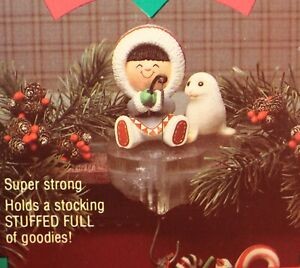 Hallmark Stocking Hanger Polar Pals Christmas Frosty Friends Ice Fishing Eskimo