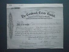 1939 SHARE CERTIFICATE FOR SHARES IN THE CORNBROOK ESTATE LTD