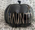 Rae Dunn Ceramic Pumpkin HAUNTED Black Luster Medium  New