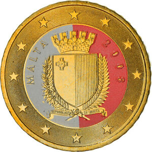 [#382165] Malte, 50 Euro Cent, 2008, Paris, Colorisé, SUP+, Laiton, KM:130