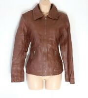 Women's Vintage Bomber Fitted Brown 100% Leather Jacket Size UK12 UK14
