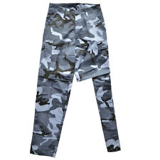 Sky Blue Camo Zip Off BDU Trousers - Military Army Pants Shorts Mens All Sizes
