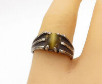 925 Sterling Silver - Vintage Cat's Eye Quartz Oxidized Band Ring Sz 6.5- R16782