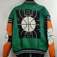 Vintage Michael Hoban Basketball Theme Leather Jacket XL Flaws 90s 1991