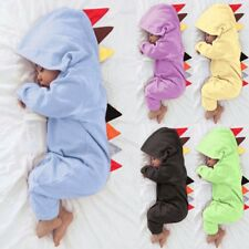 Newborn Baby Boy Girl Dinosaur Zipper Hooded Romper Jumpsuit Clothes Outfit Coat