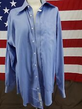 Nordstrom Button Down Dress Shirt Long Sleeve Wrinkle Free Blue Men's Size 17