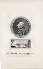 FREDERICK THE GREAT, KING OF PRUSSIA & ORIGINAL ANTIQUE ENGRAVING