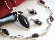 Echtes 925 Silber SCHMUCKSET Anhänger+Ohrhänger+Armband mit BLAUFLUSS, TOP !