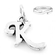 "STERLING SILVER FANCY LETTER ""K"" CHARM WITH SPLIT RING"