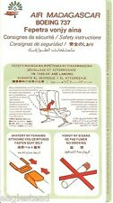 Safety Card - Air Madagascar - B737 - Green Background (S3016)