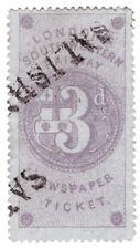 (i. b) Londres & South Western Railway: periódico billete 3d (Salisbury)