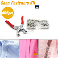 405pcs Metal Snap Fasteners Kit Press Studs Buttons Tool Women Men Craft Leather